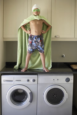 Conquerer of Encopresis Standing on Laundry Machines